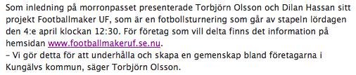 Torbjörn Olsson Footballmaker Kungälv