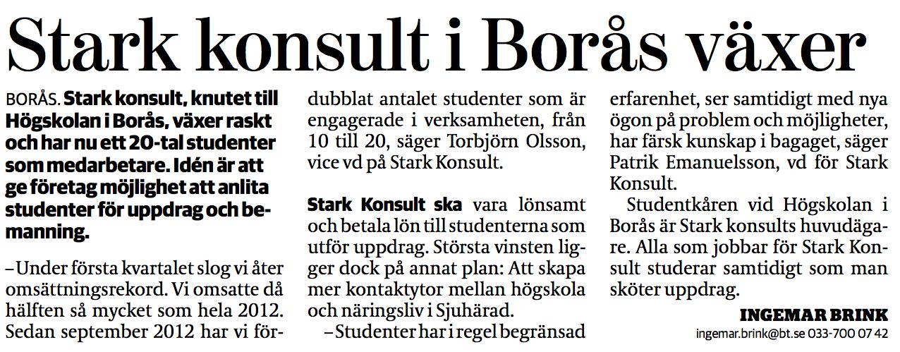 Torbjörn Olsson STARK Konsult Borås Tidning